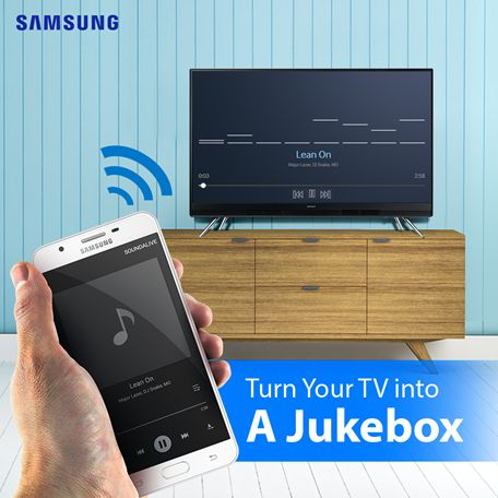 Haven't you always wanted your own personal jukebox? Well now you can. Samsung TV pumps out awesome sound, and all you have to do is connect your phone's Bluetooth with TV's Bluetooth and press play on your favorite playlist.