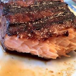 Soy sauce & brown sugar salmon marinade. This is the only salmon recipe I use. I wrap it in foil and bake at 425° for approx. 15 minutes. Moist and delicious.