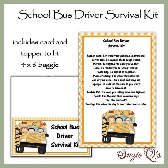 School Bus Driver Survival Kit includes Topper and Card - Digital Printable - Immediate Download