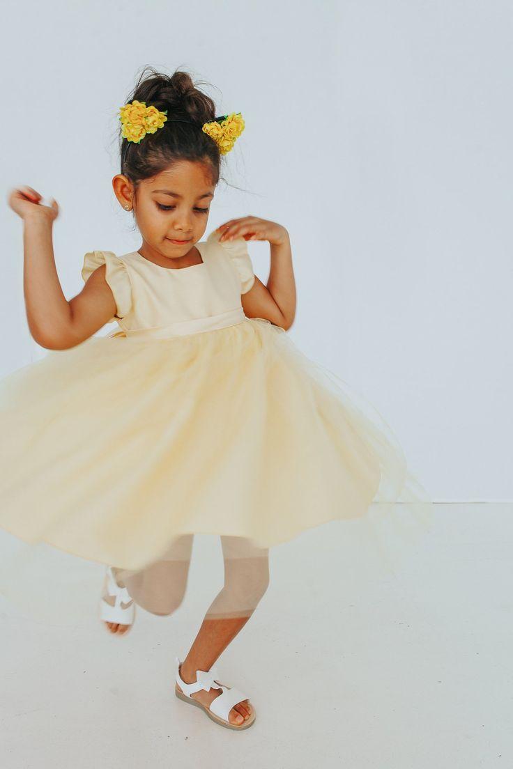 489b43ef3 Belle Yellow Silk Flower Girl Dress, the perfect yellow dress for little  girls – cuteheads