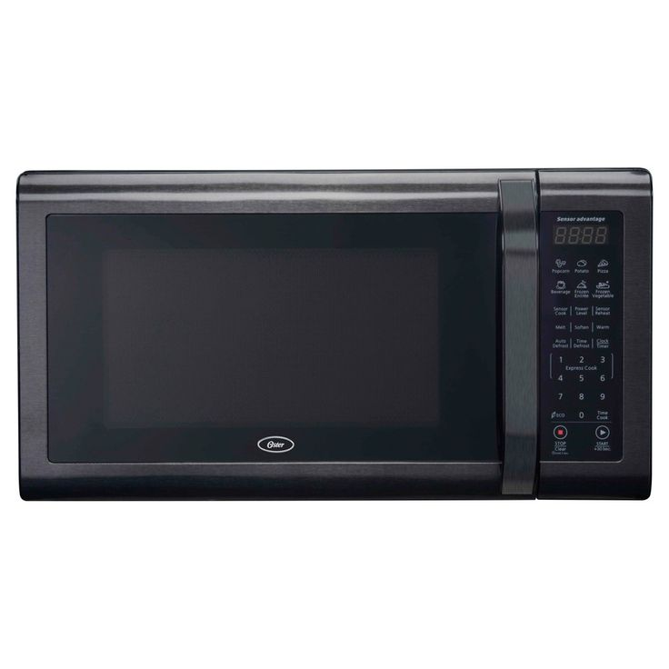 Oster 1.4 Black Stainless Microwave Oven, Black/Silver
