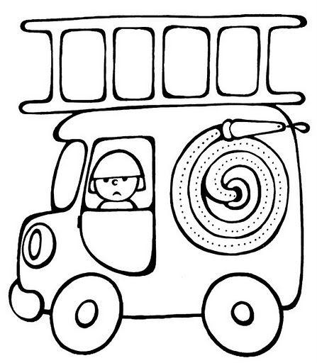 """Coloriage simple """"Camion de pompier"""""""