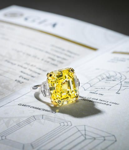 At Bonhams: Lot 670 AN IMPORTANT FANCY COLOURED DIAMOND AND DIAMOND RING HK$ 12 million - 18 million US$ 1.5 million - 2.3 million
