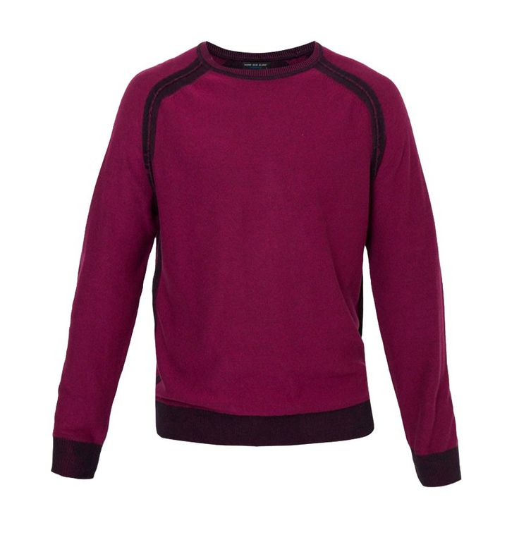 It's classic style by Noir Sur Blanc, Mens Oneck Ls Sweater. Red plum color sweater with contrast line detail, round neck, long sleeves, perfect sweater for everyday use, keep warm in a col weather with this cool sweater. Pair it with wingtip shoes for semi formal look.   http://www.zocko.com/z/JHPLR