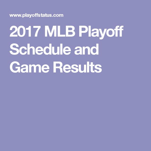2017 MLB Playoff Schedule and Game Results