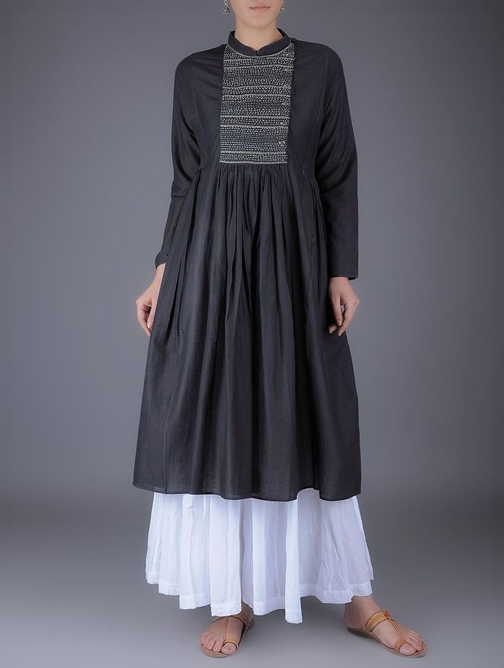 Buy Black Kantha Embroidered Mandarin Collar Gathered Cotton Kurta Women Kurtas Online at Jaypore.com