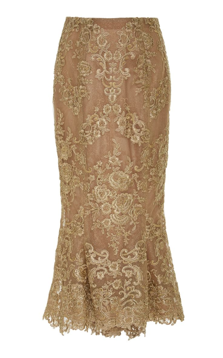 Corded Lace Pencil Skirt by MARCHESA