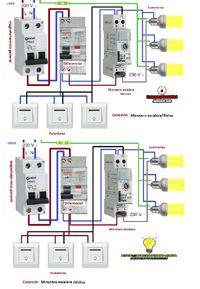Esquemas eléctricos: esquema conexión minutero escalera 3y4hilos