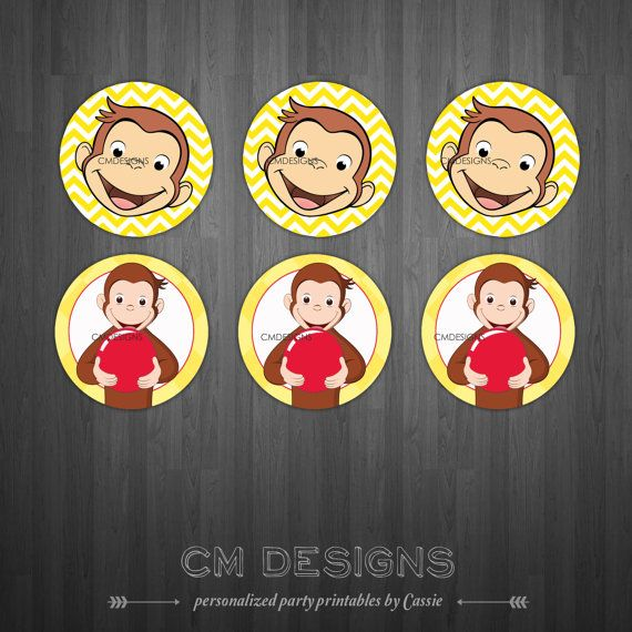 Curious George Cupcake Toppers INSTANT by DesignsbyCassieCM, $5.99