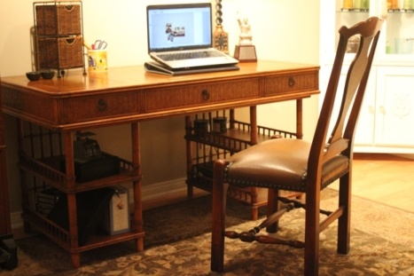 SOLD TBW Tommy Bahama Desk Tooled leather inlaid top