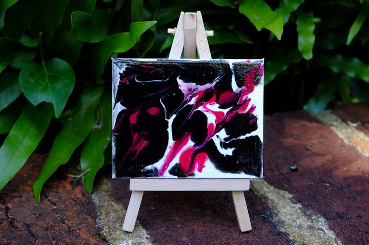 Mini original abstract painting on canvas with mini easel stand, pink, black, white, mini canvas, acrylic, hand poured by Traceyleeartdesigns on Etsy