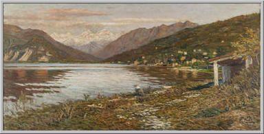 Mario Tozzi 1914: Lago Maggiore Olio su Tela cm.62x128 - Collezione eredi Brunetti-Laderchi Bologna - Archivio n.1663 - Catalogo n.14/12.