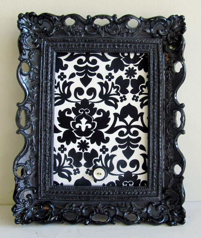 ORNATE PICTURE FRAME Magnet Board Wedding Picture Display Black White Damask Gift for Her Nursery Decor - Ready to Ship. $34.00, via Etsy.