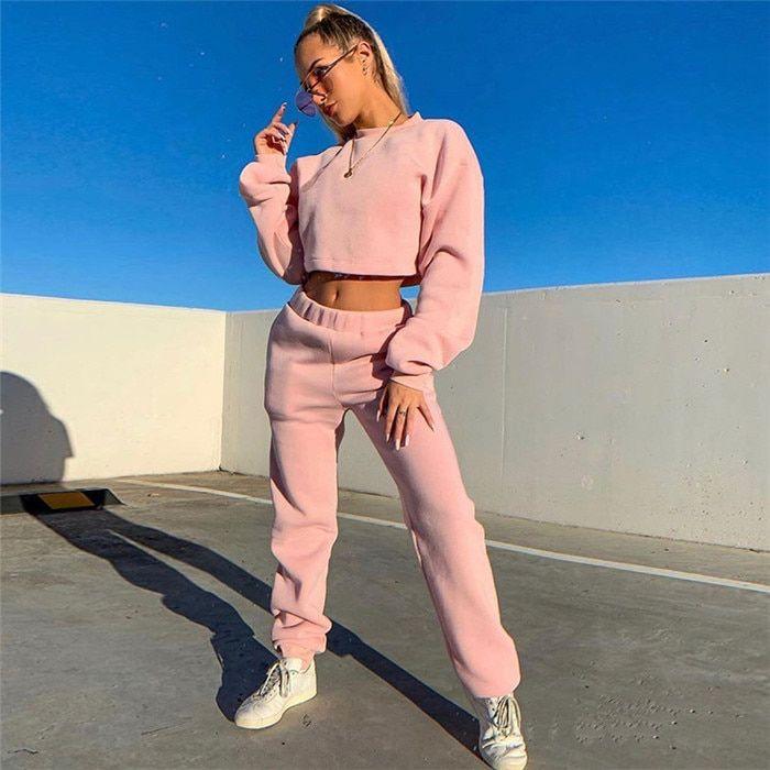 Girls Active 2 Piece Outfits Crop Tops Drawstring Sweatpants Sweatsuit Clothes Set Street Dance Costume