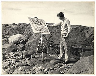 Citation: John Marin painting outdoors, ca. 1950 / unidentified photographer. Miscellaneous photographs collection, Archives of American Art, Smithsonian Institution.