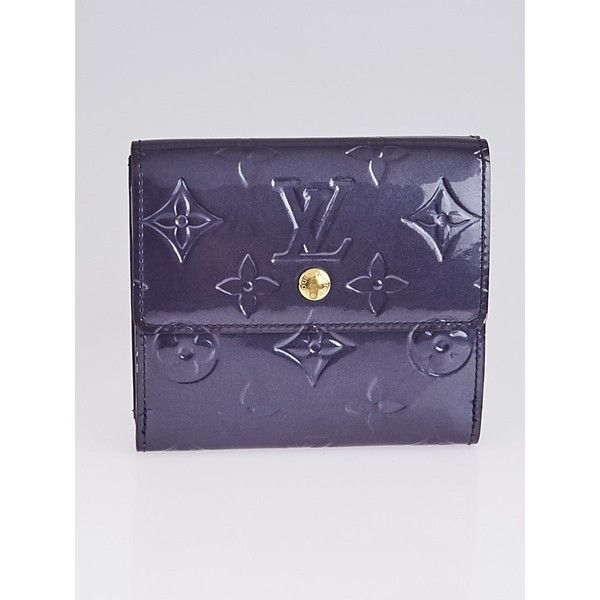 Pre-owned Louis Vuitton Indigo Monogram Vernis Elise Wallet ($195) ❤ liked on Polyvore featuring bags, wallets, louis vuitton wallet, patent leather wallets, indigo bags, pre owned bags and purple bags