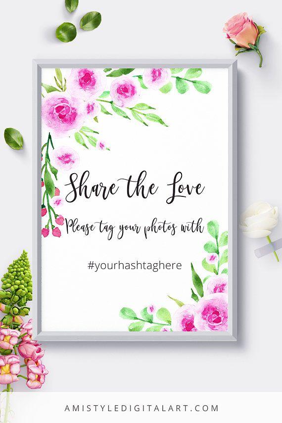 Wedding Hashtag Wild Rose Wedding Signs Wedding Signage