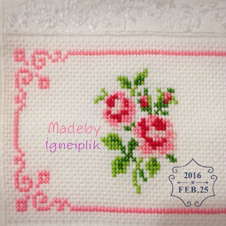 Cross stitch floral towel İnstagram:madebyigneiplik