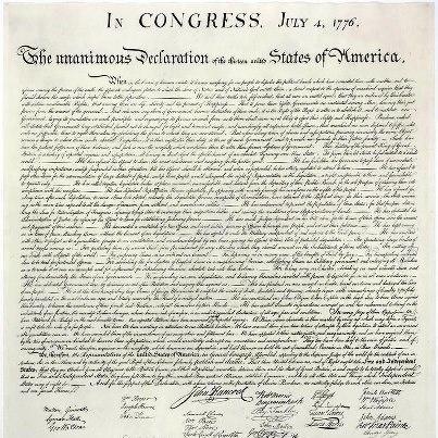 la dichiarazione di indipendenza degli Stati Uniti d'America (4 luglio 1776)