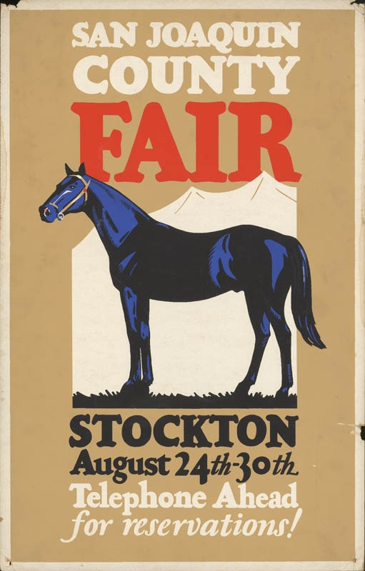 San Joaquin County Fair, Stockton, 193- This fair always had horse races and a rodeo; In the early days there were harness races.