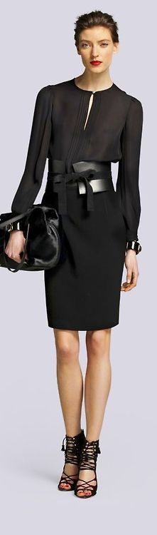 Crepe blouse, wide belt and pencil skirt