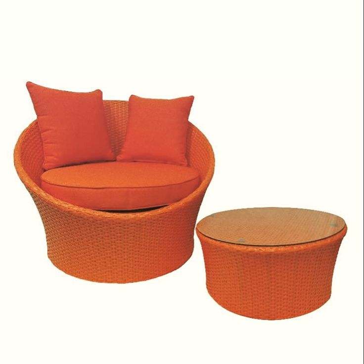 Wicker outdoor chair, Orange Grace chair with coffee table/ottoman