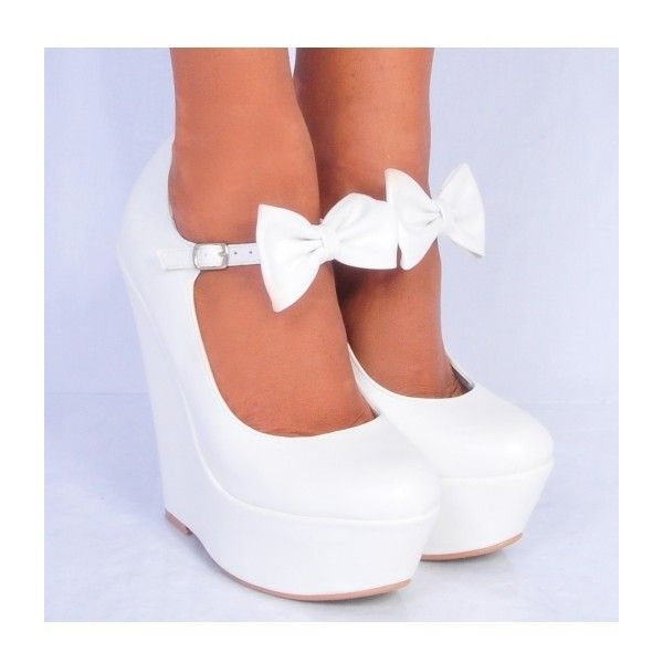 Koi Couture Ladies HR110 White Pu Leather Bow Wedges ($34) ❤ liked on Polyvore featuring shoes, heels, wedges, high heels, high heel shoes, bow shoes, wedge sole shoes, wedge heel shoes and high heeled footwear