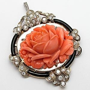 ANTIQUE CARVED CORAL & DIAMOND ENAMELED BROOCH PIN PENDANT SOLID 14K GOLD