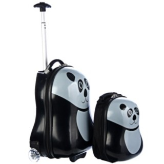 @Overstock - Set includes: 17-inch wheelie luggage and 12-inch backpack  Design: Panda  Materials: Abs, nylonhttp://www.overstock.com/Luggage-Bags/Trendykid-Travel-Buddies-Panda-2-pc-Hardside-Kids-Luggage-Set/6023535/product.html?CID=214117 $62.49