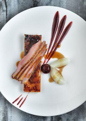 Breast of Duck Tarte Fine of Caramelised Endive Cherry Puree