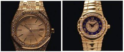 relojes de oro con con bisel y pulso tapizados de diamantes