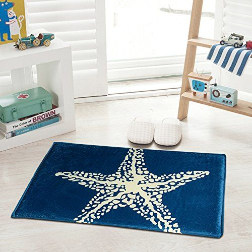 Non-Slip Doormat Rug Mediterranean Style With White Starfish - Beachfront Decor