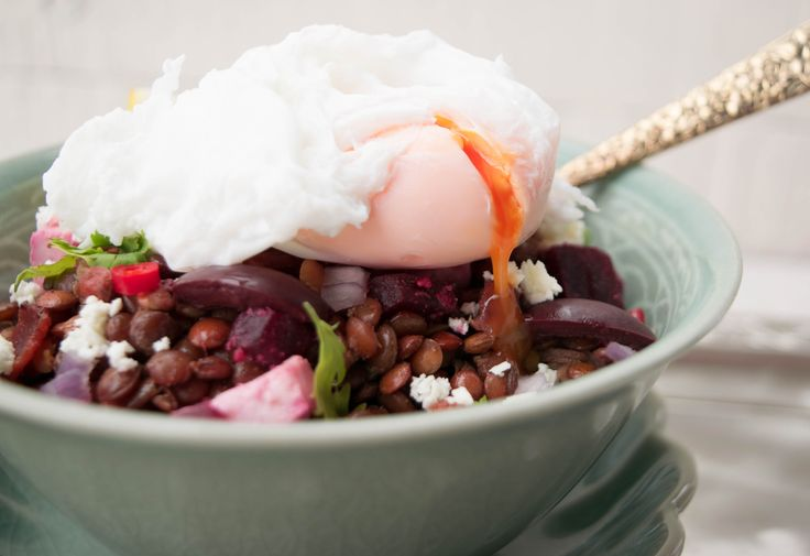 Lentil Salad with feta, olives, bacon and poached duck egg. Also a vegetarian version with paneer cheese and beetroot.