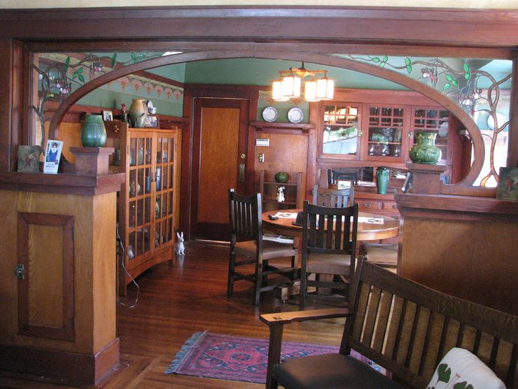 Asian Design Influenced  Craftsman Bungalow - San Francisco -  Dining room -  stained glass - Arts & Crafts - Interior