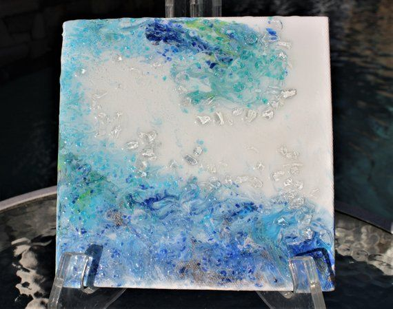 Ocean Wave Painting Original Sea Glass Art Abstract Wall Art