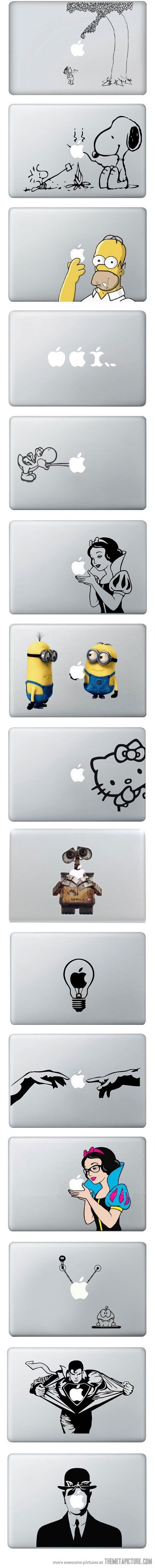 MacBook Vinyl Decals; I sometimes wish I had a Mac, just for these.