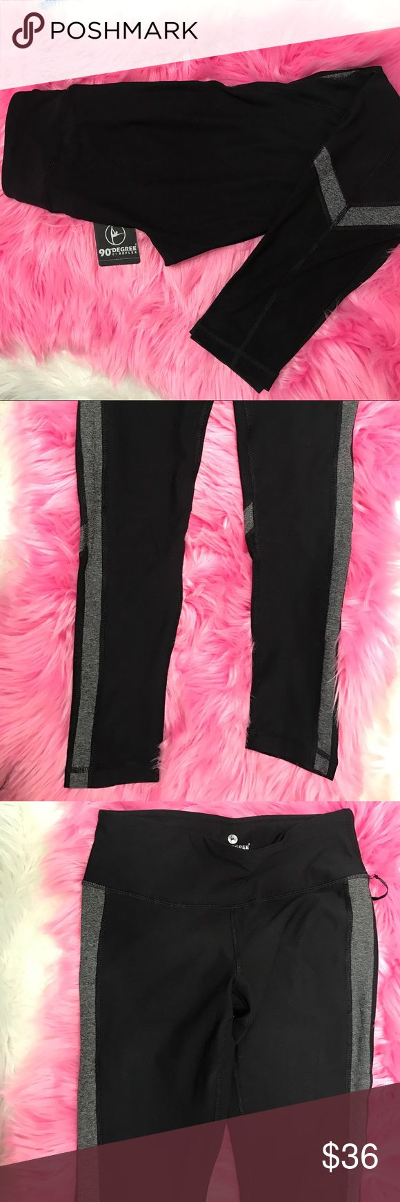 NWT 90 degree by reflex work out leggings Beautiful work out leggings. Black and gray. Brand new. See thru Mesh on lower side of calves in the back. Super stretchy. Super comfy leggings. Not see thru. The best leggings for everyday use. It has moisture wicking technology. Size: medium. Inseam 28 inches 90 Degree By Reflex Pants Leggings