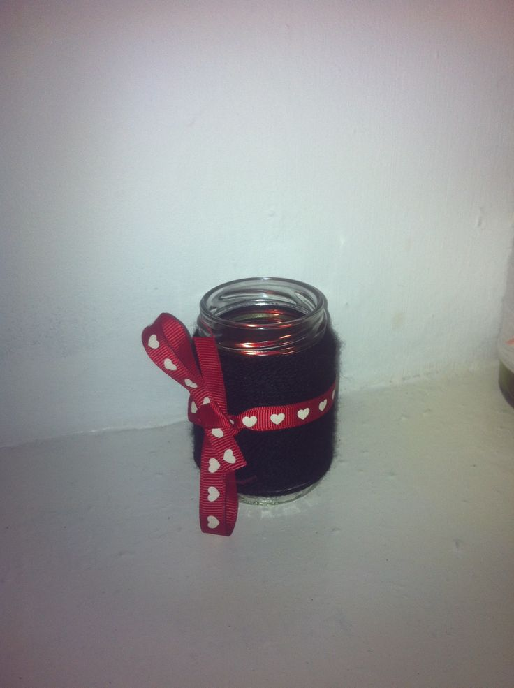 Candle holder made from an old mayo jar, with ribbon and yarn. Productive baby nap time