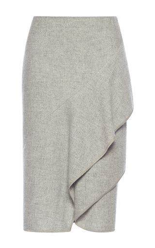 This **Alberta Ferretti** skirt features a pencil shape with ruffled detailing.