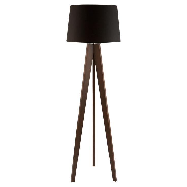 Bedroom Lamps Tesco: Tesco Tripod Wooden Floor Lamp Dark Wood Black Shade