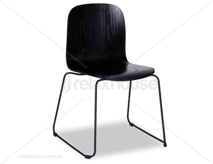 Flip Chair Black Stained American Ash Seat with Black Powdercoated Steel Sled Base