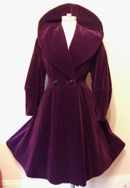 Would love this in emerald green too.  Paris Purple Plum Velvet Fit Flare Coat Huge Collar Wasp Waist Full Skirt Balloon Sleeves Eiffel Tower Lining Vintage 40s 50s Winter Party Coat S M Rare Color. $299.00, via Etsy.