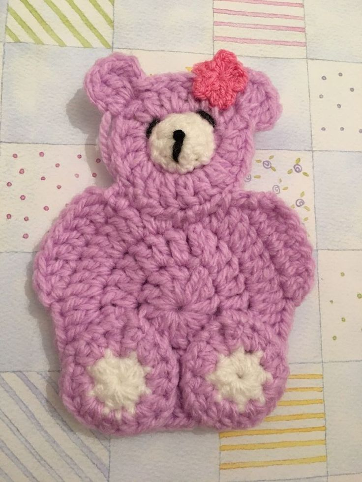 Crochet Teddy Bear Appliqué Embellishment Suitable For Granny Squares, Crafts  | eBay