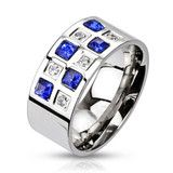 The Chairman – Classy Stainless Steel Multiple Blue and White Cubic Zirconia Checkerboard Pattern Ring