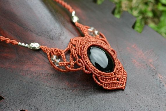 Handmade Macrame Necklace with Onyx