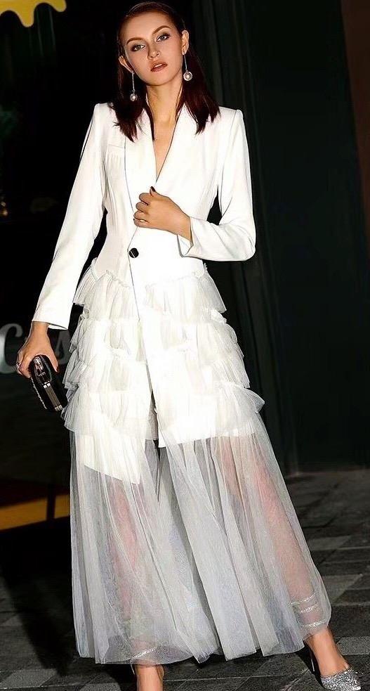 Mesh Tuxedo Dress