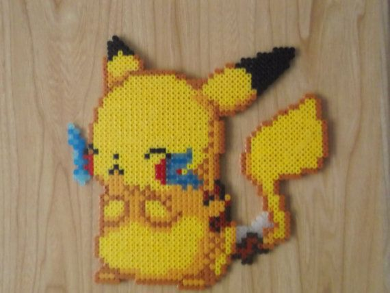 Cute Pikachu Perler Beads by CrazyHamaGuyBeads on Etsy