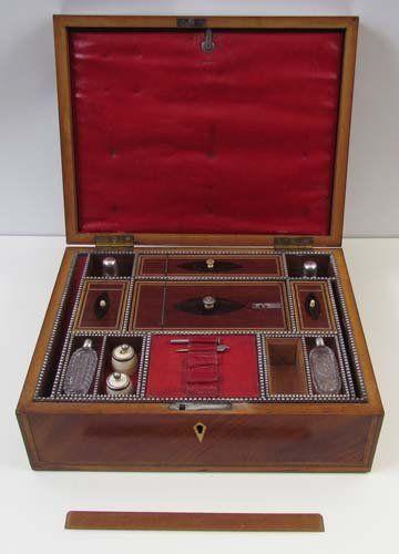 Georgian inlaid mahogany traveling dressing box