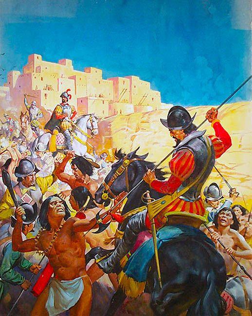 """Spain / Battles, Knights - Batalla de Otumba, fue un enfrentamiento entre las fuerzas mexicas y aliadas encabezadas por el Cihuacóatl Matlatzincátzin y las de Hernán Cortés y aliados Tlaxcaltecas (en 1520 en Temalcatitlán cerca de Otumba). El resultado de la batalla fue una victoria para Cortes, y le permitió volver a reorganizar su ejército, el cual había sido abatido unos días antes en el episodio conocido como la Noche Triste.""""Conquistadors and Incas""""  James McConnell"""