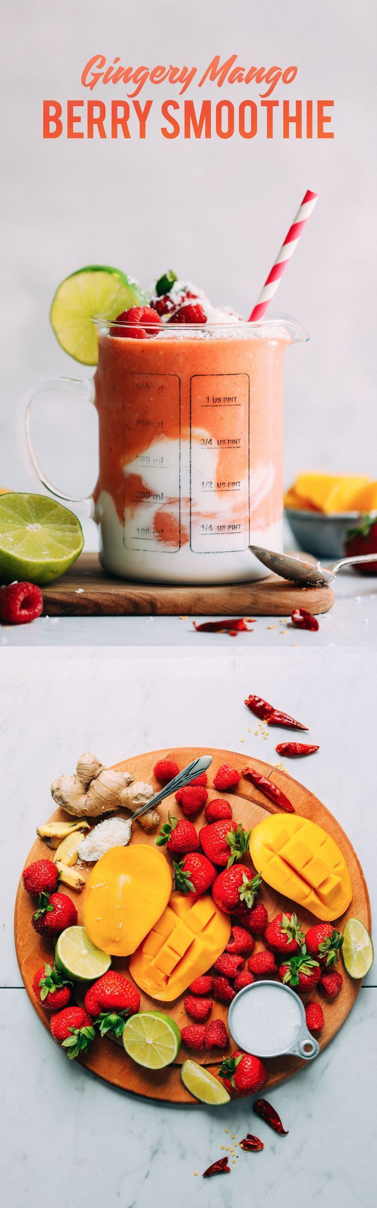 A wholesome smoothie of mangoes, berries, lime, ginger, and coconut, with a hint of spice from cayenne, will get your morning started off on the right foot.